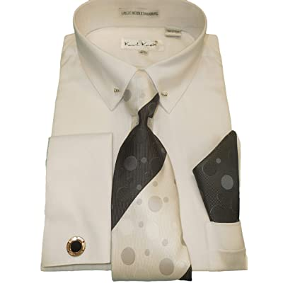 Karl Knox SX4409 Mens White Pointed Eyelet Pin Collar French Cuff Dress Shirt + Tie (2XL 18.5 Collar 36/37 Sleeve) at Men's Clothing store