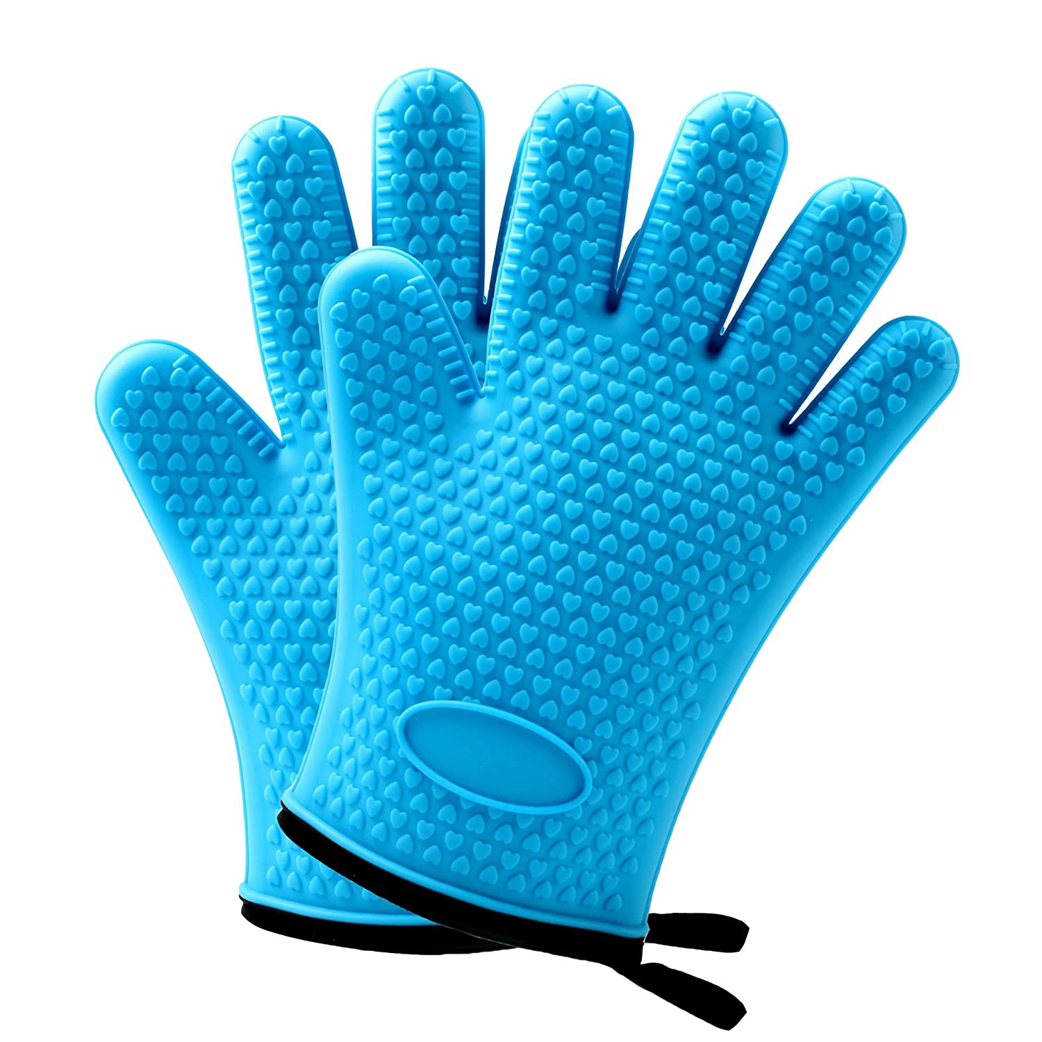 BBQ Silicone Cooking Gloves - Heat Resistant Oven Mitt for Grilling Kitchen Barbecue Safe Handling of Pans and Pots Baking Non-Slip Potholders Cooking Internal Protective Cotton Layer [1 Pair]