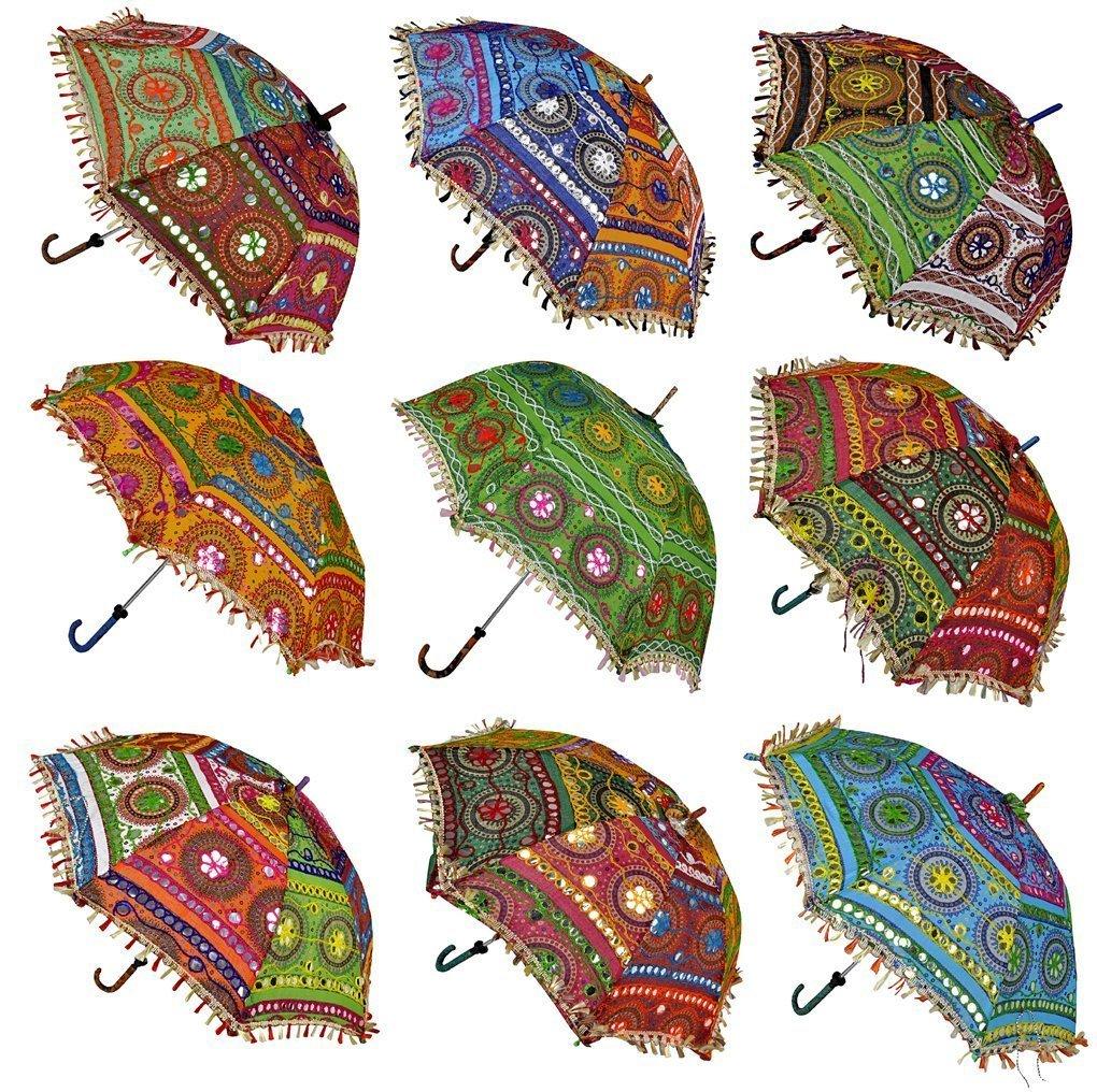 7255434c66ca2 Ekam Art Rajasthani Handicraft Cotton Sun Protection Umbrella  (24x28-inches, Multicolour)- Pack of 10