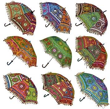 Ekam Art Decorative Designer Cotton Sun Protection Umbrella Sunny Day Multicolor Umbrella 50 Pcs Navratri Decoration Items