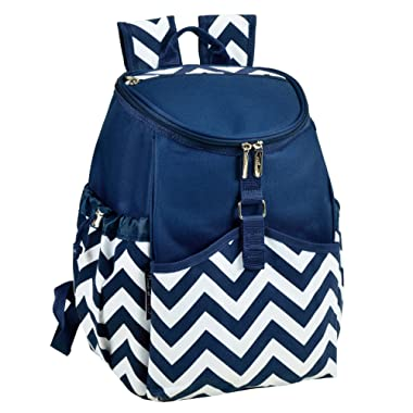 Picnic at Ascot Insulated Backpack Cooler, Blue Chevron