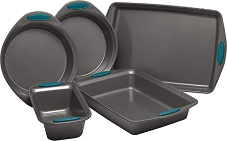 Rachael Ray Nonstick Bakeware Set with Grips includes Nonstick Baking Pans, Baking Sheet and Nonstick Bread Pan - 5 Piece, Gray with Marine Blue Handles