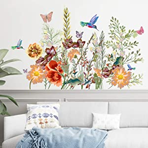 ROFARSO Plants Animals Flowers Grass Butterfly Birds Colorful Vinyl Wall Stickers Removable Wall Decals Art Decorations Decor for Bedroom Living Room Murals