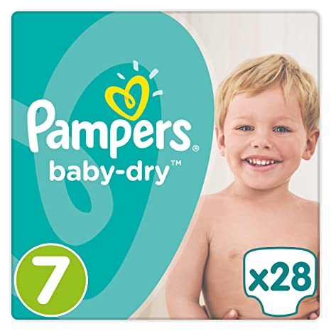 PAMPERS Baby Dry Pañales, talla 7 (17 + kg), 4 unidades (