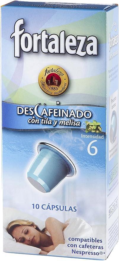 Café Fortaleza Café Descafeinado con Tila y Melisa - 10 cápsulas ...