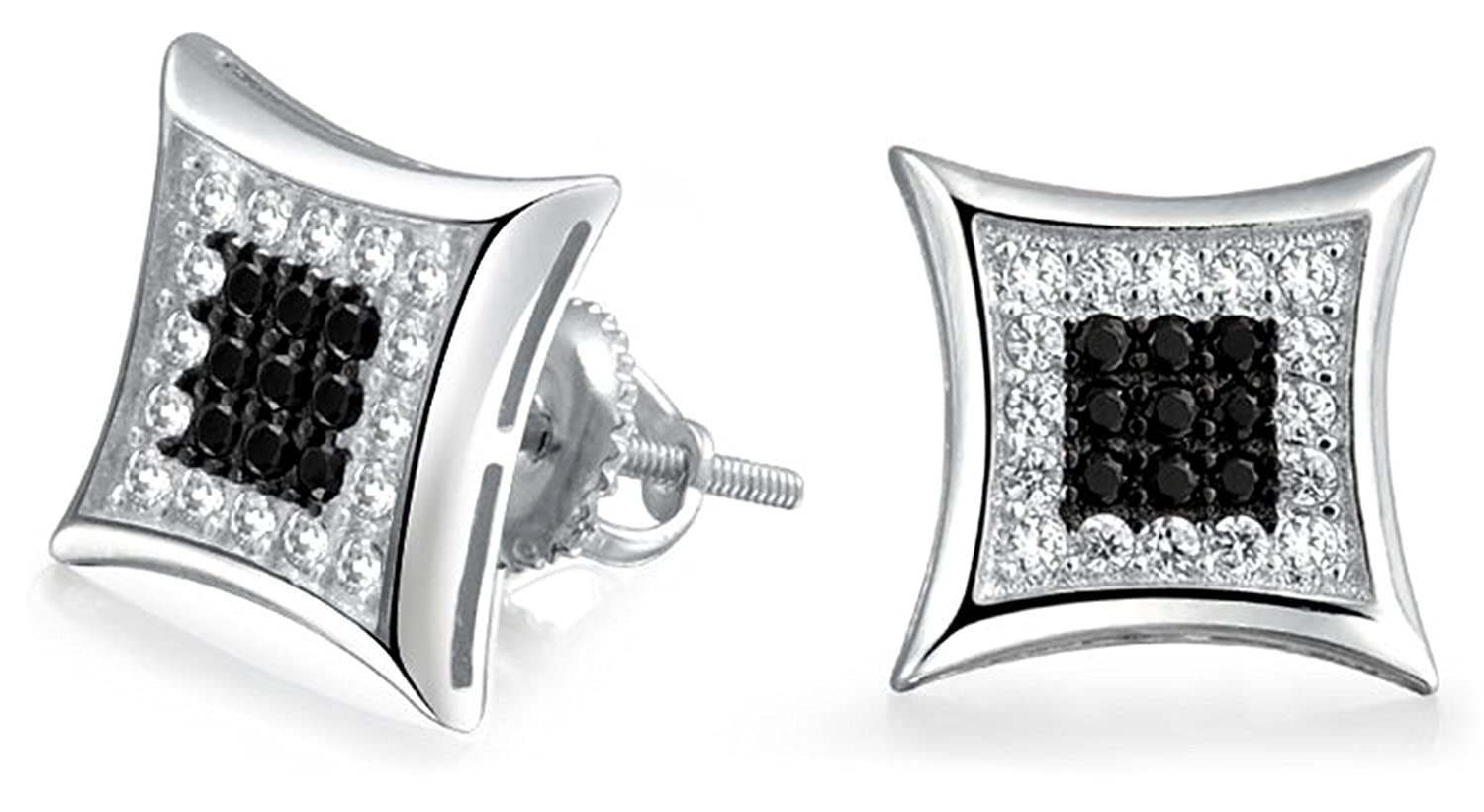2f920639d Amazon.com: Mens Kite Black White Micropave CZ Sterling Silver Screwback Stud  Earring 9mm: Jewelry