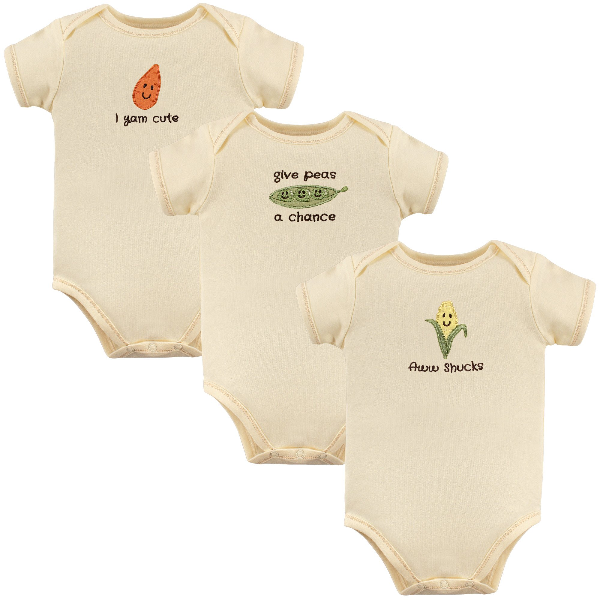Touched by Nature Baby Organic Cotton Bodysuits, Aww Shucks 3 Pack, 6-9 Months (9M)