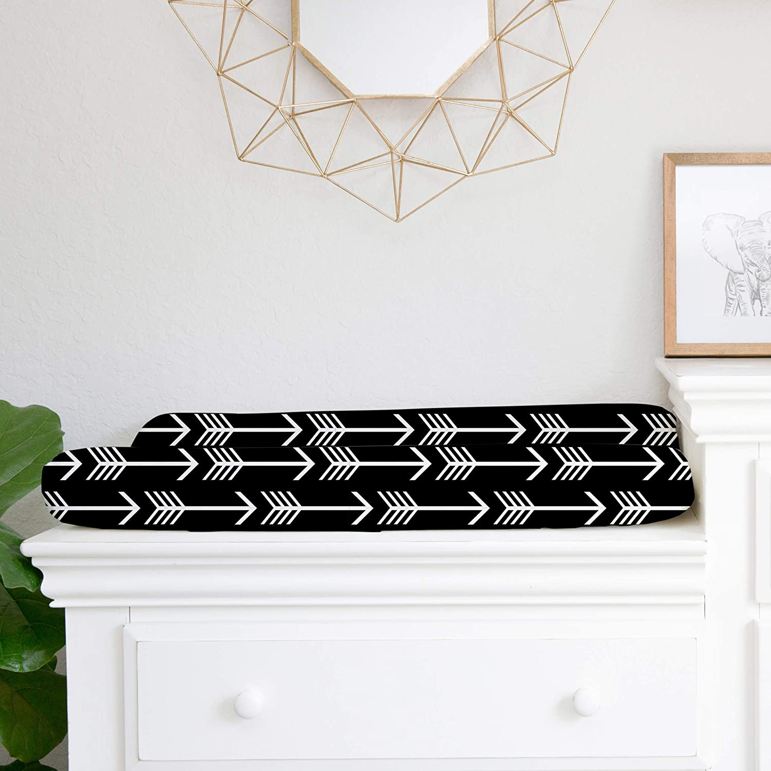 Baby Changing Table Covers -100/% Cotton Changing pad Cover boy Girl Black White Arrows Woodland Nursery Decor by JLIKA