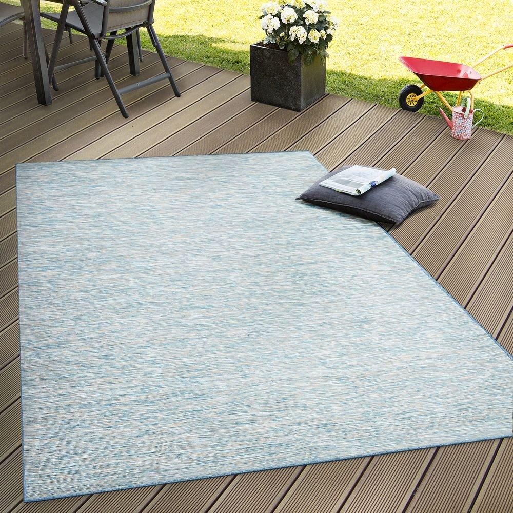 Paco Home In- & Outdoor Flachgewebe Teppich Terrassen Teppiche Mit Farbverlauf In Blau, Grösse 200x280 cm