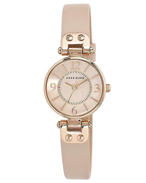 Anne Klein - Reloj para mujer, con correa de cuero de color rosa: Amazon.es: Relojes