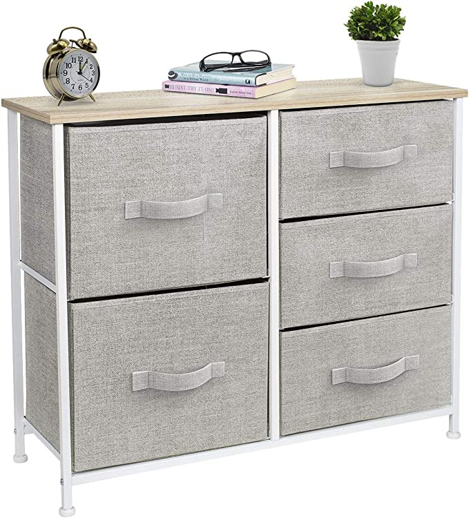 Best SORBUS 5 Drawers White Dresser Functioned with Wood top and Steel Frame