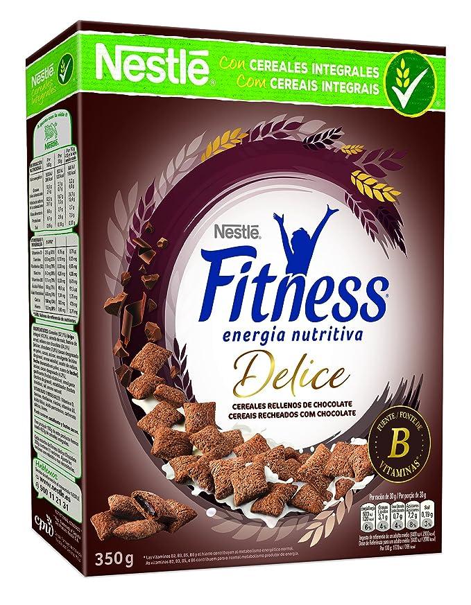 Cereales Nestlé Fitness Delice - Cereales de trigo, maíz y arroz tostados con cacao rellenos de crema con chocolate - 4 paquetes de cereales de 350 g: ...