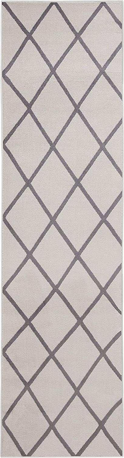 "( 3' x 10' Runner Rug ) Bergen Home Décor Contemporary Moroccan Trellis Geometric Design Runner Area Rug, 31"" W x 118"" L, Ivory / Gray (UNQ8038)"