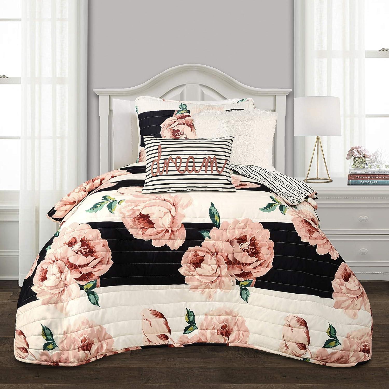 Lush Decor, Black & Dusty Rose Amara Floral 4 Piece Quilt Set, Twin XL