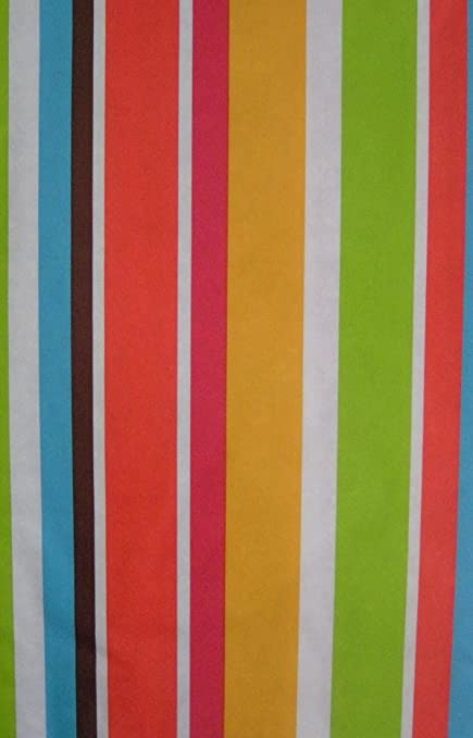 Blue, Green, Pink, Orange, Yellow, Brown, White Stripe Vinyl Tablecloth