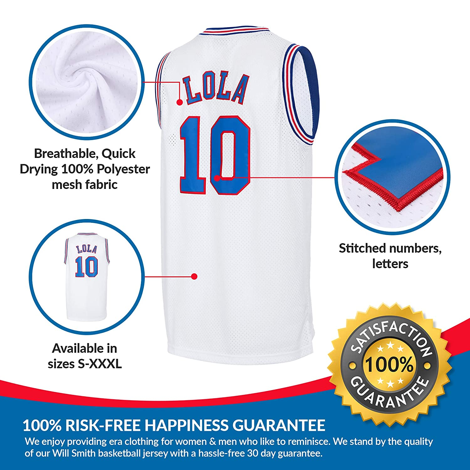 7361a47e9d07 AFLGO Lola Space Jam Jersey Basketball Jersey Include Set GLOW IN THE DARK  Wristbands S-XXL White  Amazon.co.uk  Sports   Outdoors