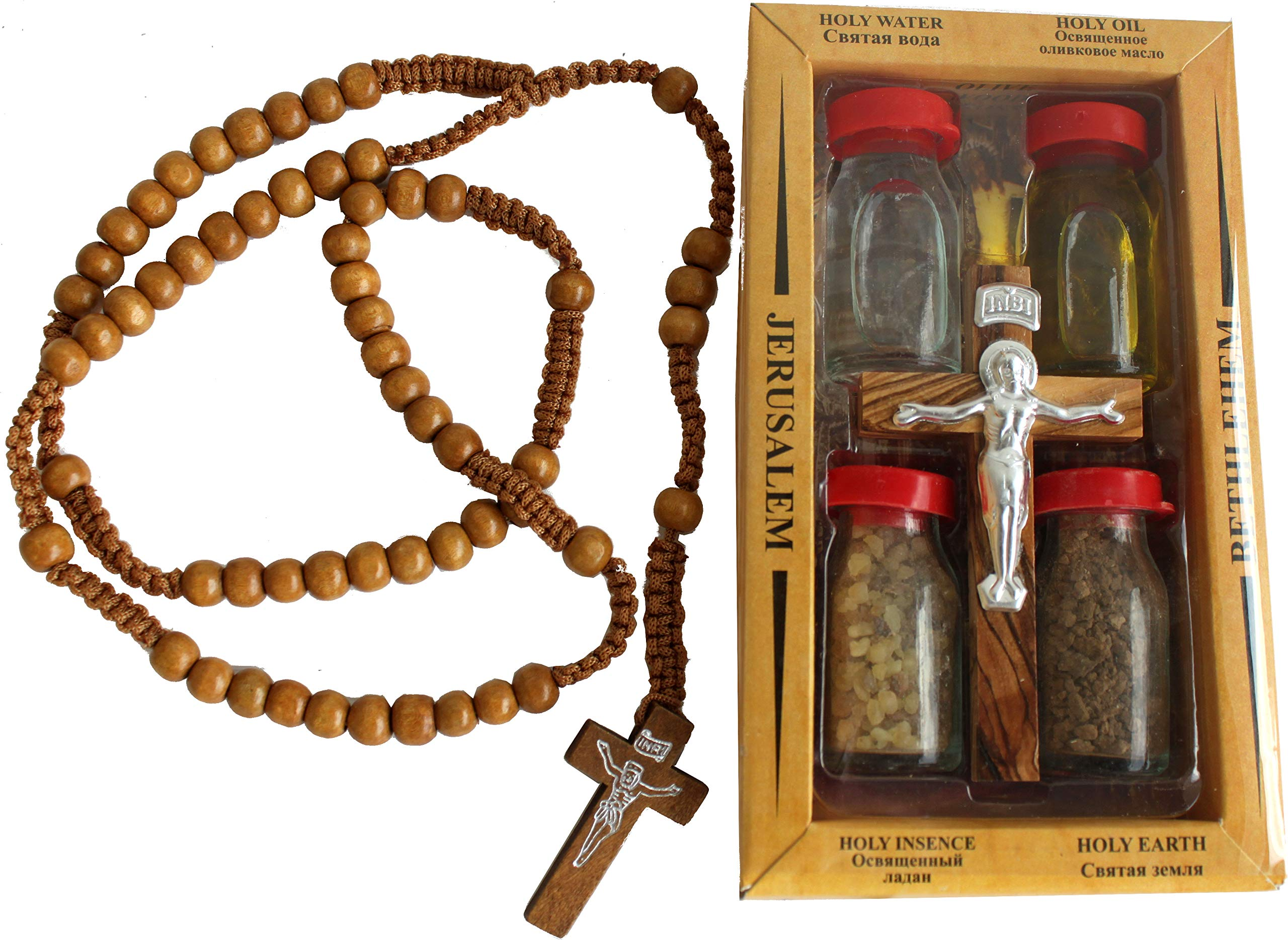 Holy Land Set 5in1 Olive Wood Cross Set with 3 Bottles - Oil, Jordan Water & Holy Earth