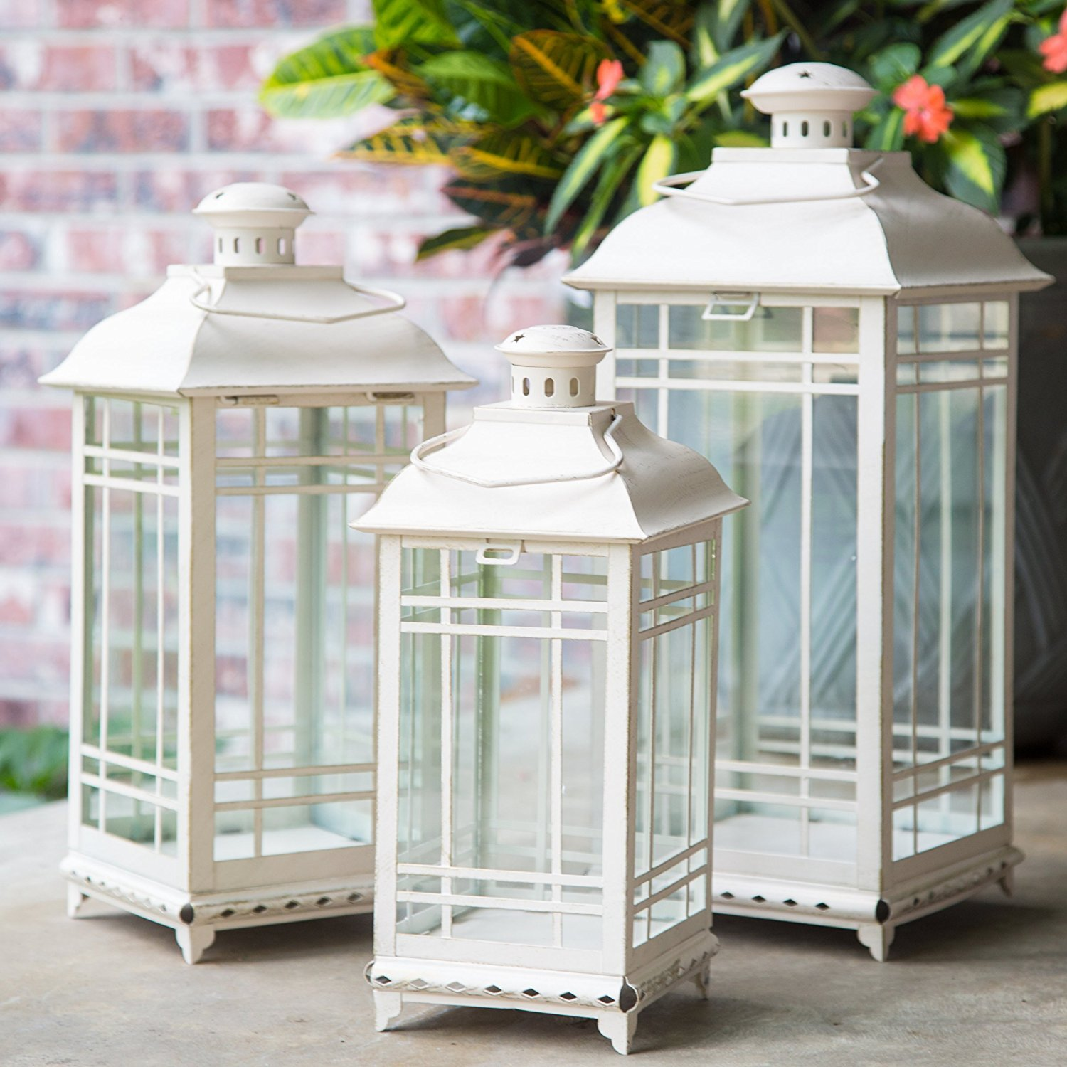 Lillian Mission Style Off-White Metal Multi-Sized Lanterns Set of 3
