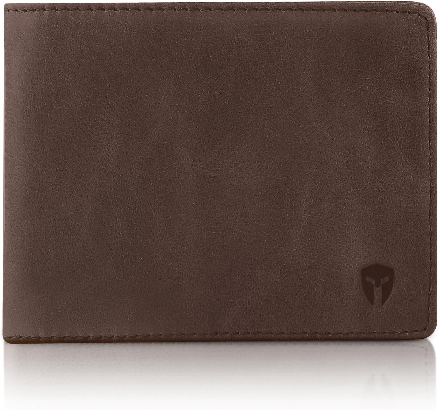 2 ID Window RFID Wallet for Men, Bifold Top Flip, Extra Capacity Travel Wallet (Texas Brown - Distressed Leather, Medium)