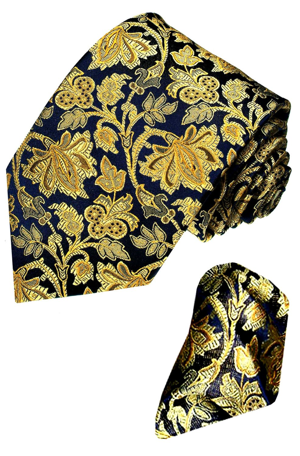 LORENZO CANA Floral Italian 100% Silk Woven Necktie Hanky Set Blue Gold 8421201 by LORENZO CANA