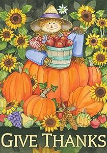 Toland Home Garden Scarecrow Harvest 12.5 x 18 Inch Decorative Colorful Thanksgiving Fall Autumn Give Thanks Pumpkin Garden Flag