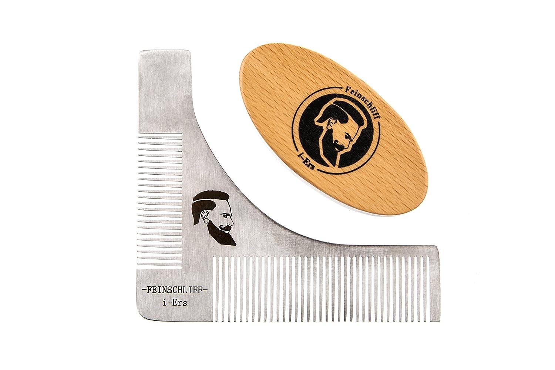 Fein filo I de ers Barba Juego de barba Tool Perfilómetro Cepillo Peine Barba Cuidado Alemán instrucciones Styling simétrico ayuda trimmern el afeitado ...