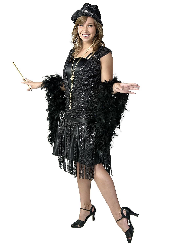 Fun Costumes Plus Size Black Satin Jazz Flapper Costume