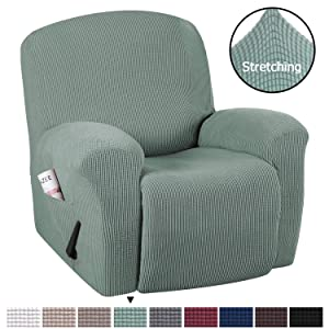 H.VERSAILTEX Modern Spandex 1 Piece Sofa Cover Recliner Cover with Pockets Lycra Jacquard High Stretch Sofa Slipcover Stylish Furniture Cover/Protector Machine Washable- Recliner- Sage