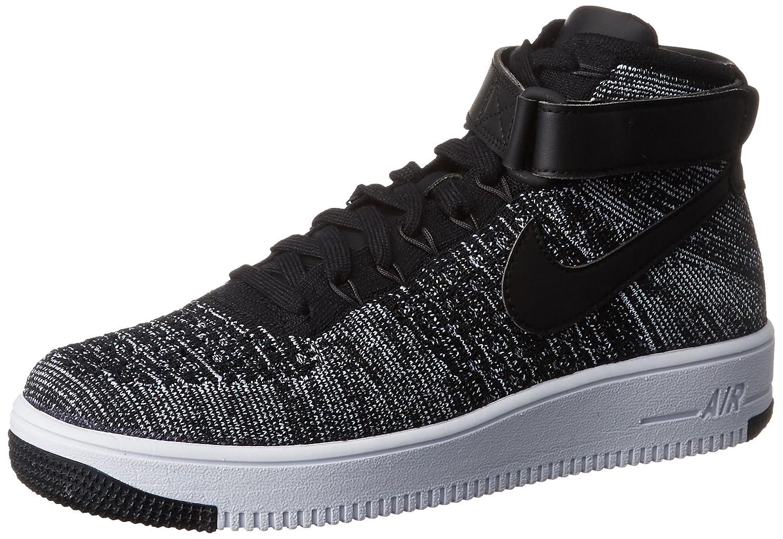 negro negro blanco Nike Af1 Ultra Flyknit Mid, Hauszapatos de Baloncesto para Hombre