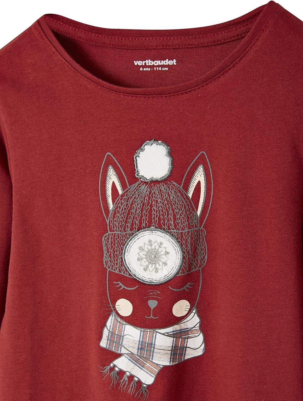 Vertbaudet T-Shirt Fille Motif Lapin avec Patchs brod/és