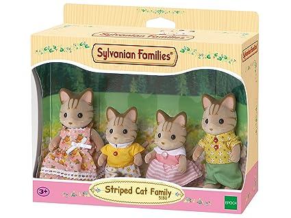 SYLVANIAN FAMILIES- Striped Cat Family Mini muñecas y Accesorios, (Epoch para Imaginar 5180)