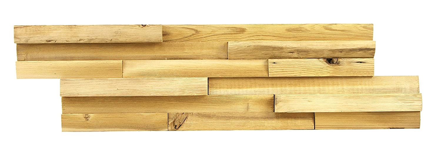 3D Reclaimed Rectangular Natural Pine Solid Barn Wood Panels Decor 8 Panels Covers 10.4 sqft per Box (Mix Brown) Kingsman Hardware