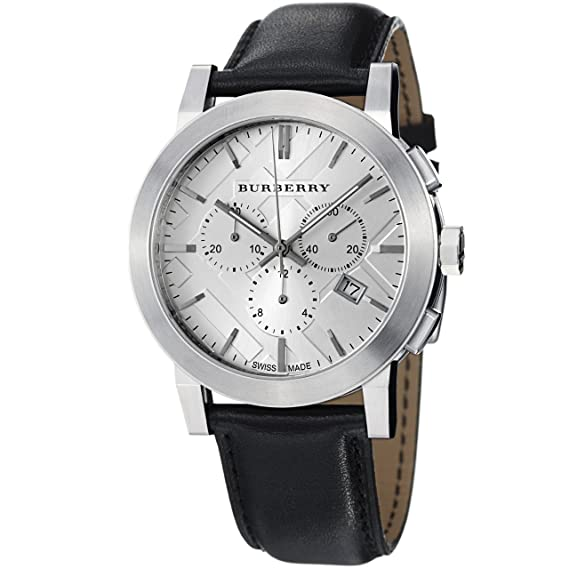 Amazon.com: Burberry Womens BU9355 Large Check Black Leather Strap Chronograph Watch: Burberry: Watches