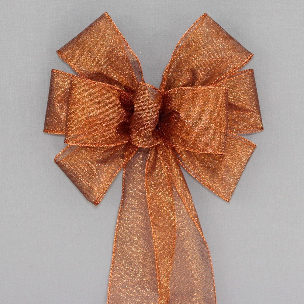 Copper Metallic Fall Christmas Wreath Bow - available in 2 sizes