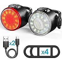 Luces Bicicleta, Luces Delanteras y Traseras Recargables USB Para Bicicleta, Impermeable LED Luz Bicicleta, 6…
