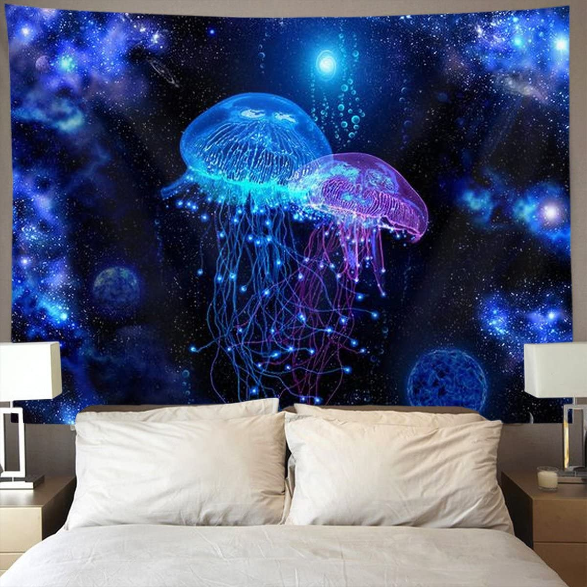 NiYoung Cosmic Galaxy Under sea Ocean Jellyfish Wall Tapestry Hippie Art Tapestry Wall Hanging Home Decor Extra Large tablecloths 60x70 inches for Bedroom Living Room Dorm Room