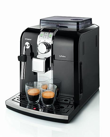 Saeco - Cafetera Espresso Syntia Total Black Hd883311 Automatica Programable,15 Bares, Deposito Agua 1,2L, Pantalla Led, Tubo Vapor Agua Inox. ...