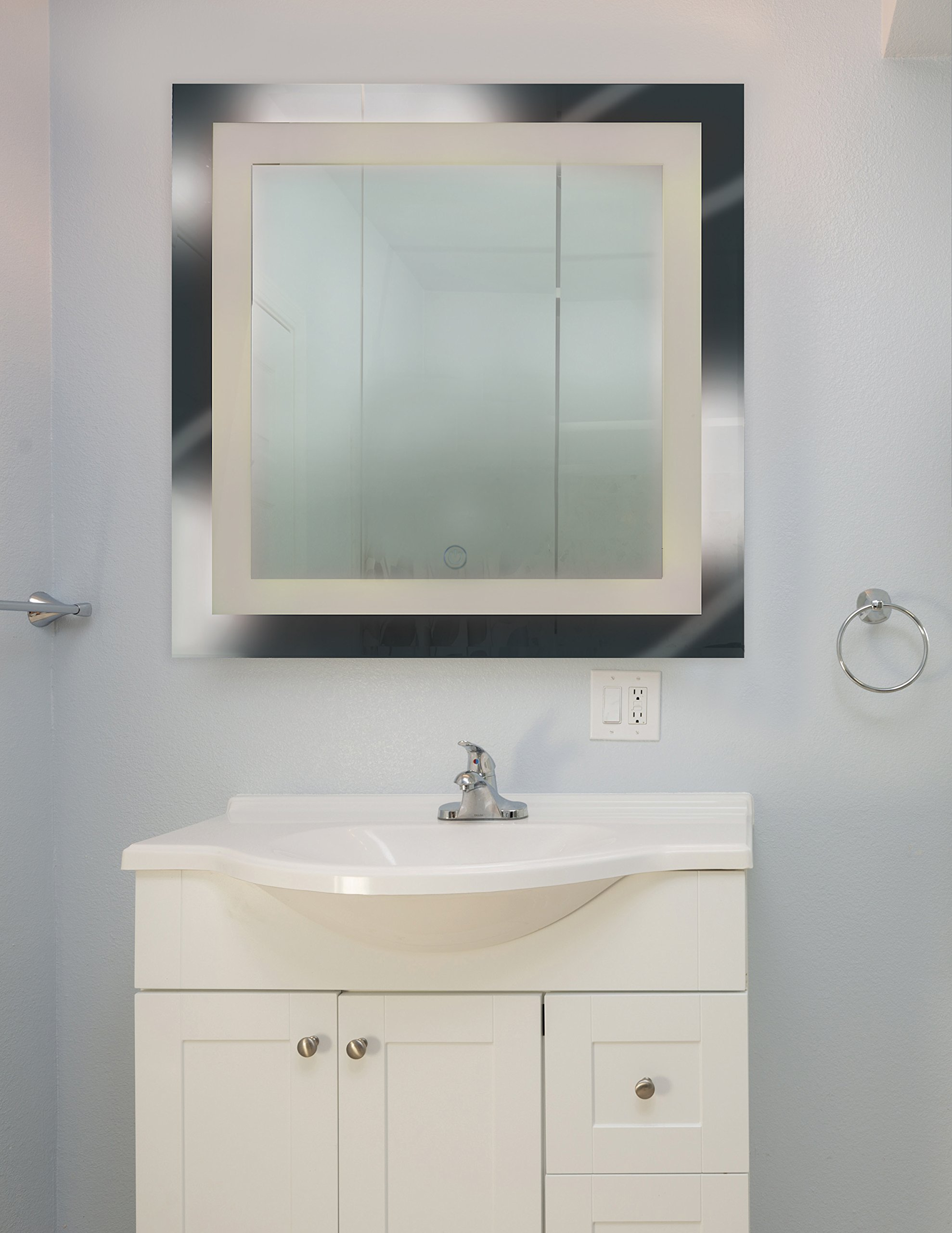 Access Lighting Spa Square Lighted LED Mirror -  Finish with Mirror Glass Shade