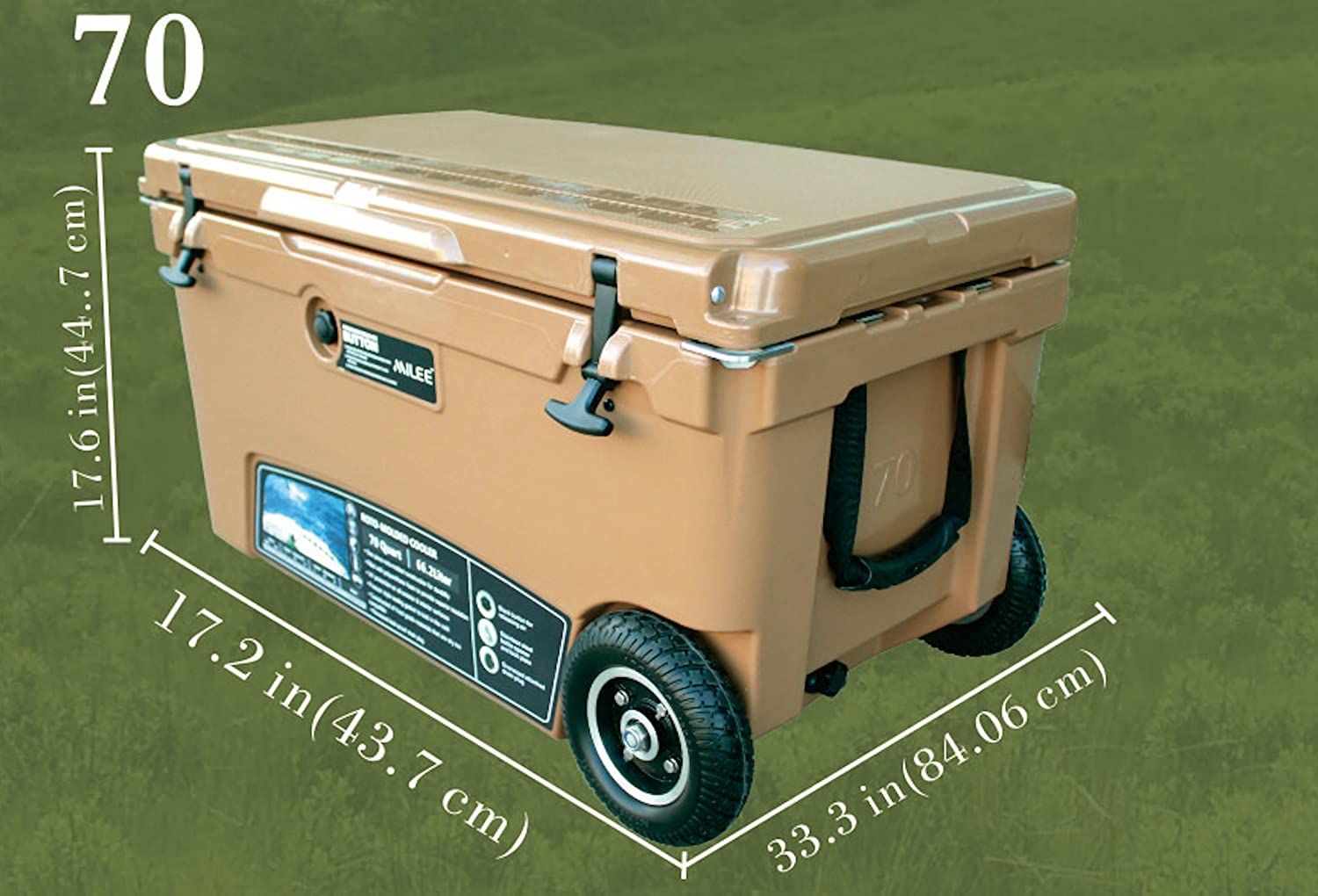 Divider,Basket and Cup Holder are Free MILEE--Heavy Duty Wheeled Cooler 70QT $50 Accessories Included