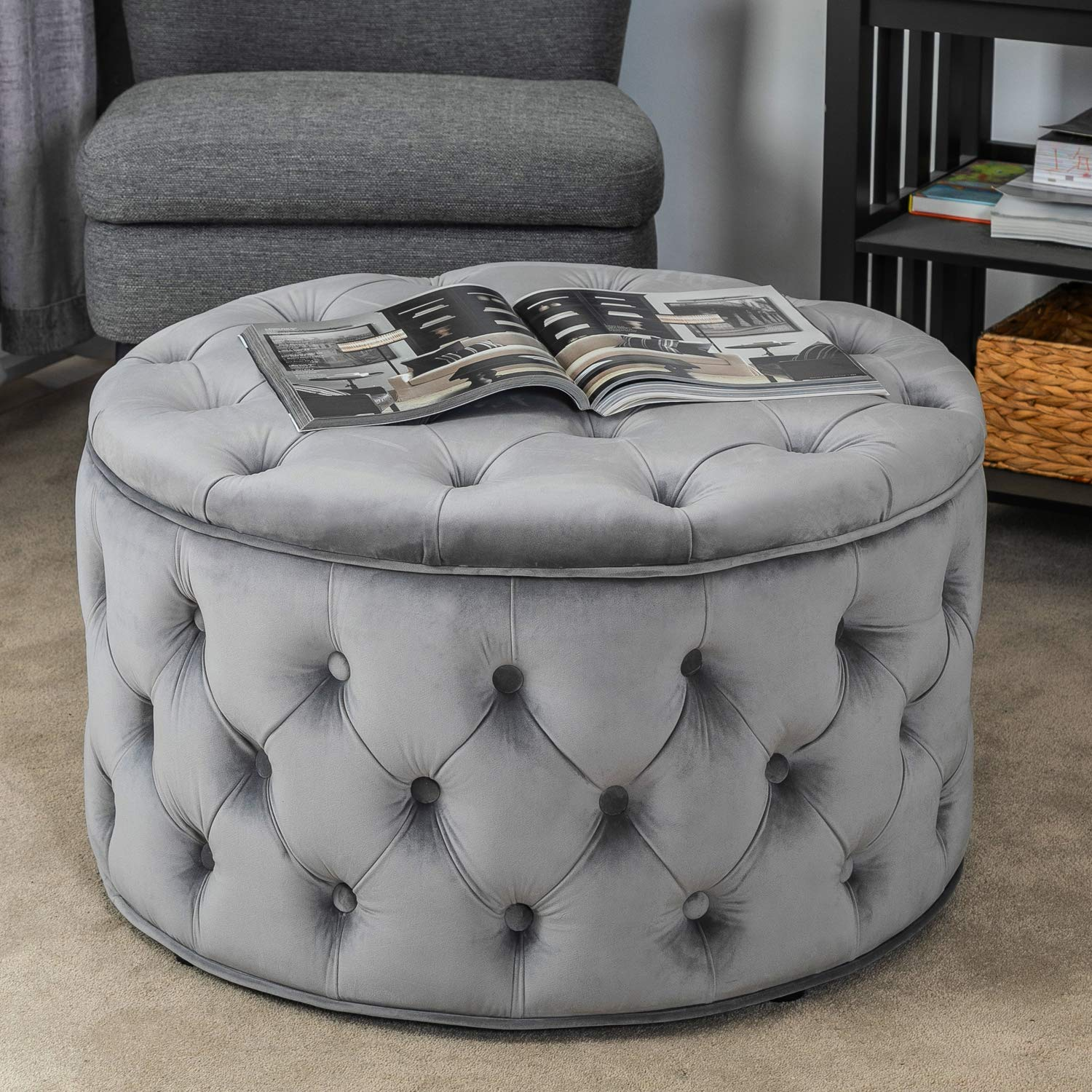 Homebeez Velvet Round Storage Ottoman, Button-Tufted Footrest Stool Bench, Upholstered Coffee Side Table (Grey) by Homebeez