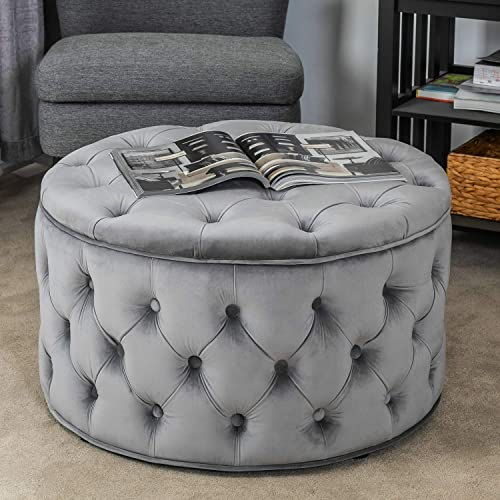 Homebeez Velvet Round Storage Ottoman, Button-Tufted Footrest Stool Bench, Upholstered Coffee Side Table Grey