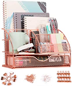 F-Jane Rose Gold Desk Organizer for Women,Mesh Metal Multi-Functional Stationery Desk Supply Accessories for office,school,home