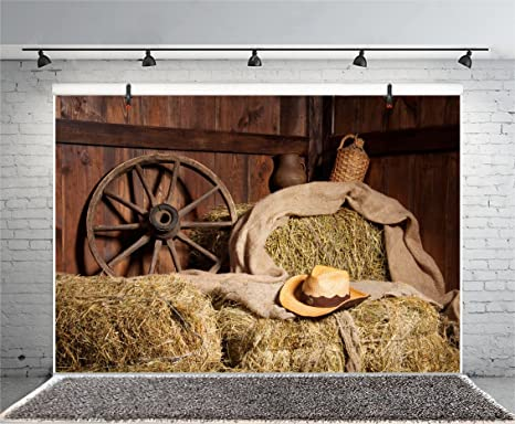 Yeele 10x8ft Old Barn Background for Photography Western Cowboy Hat Hay Straw Wheel Backdrop Kid Adult Photo Booth Shoot Vinyl Studio Props