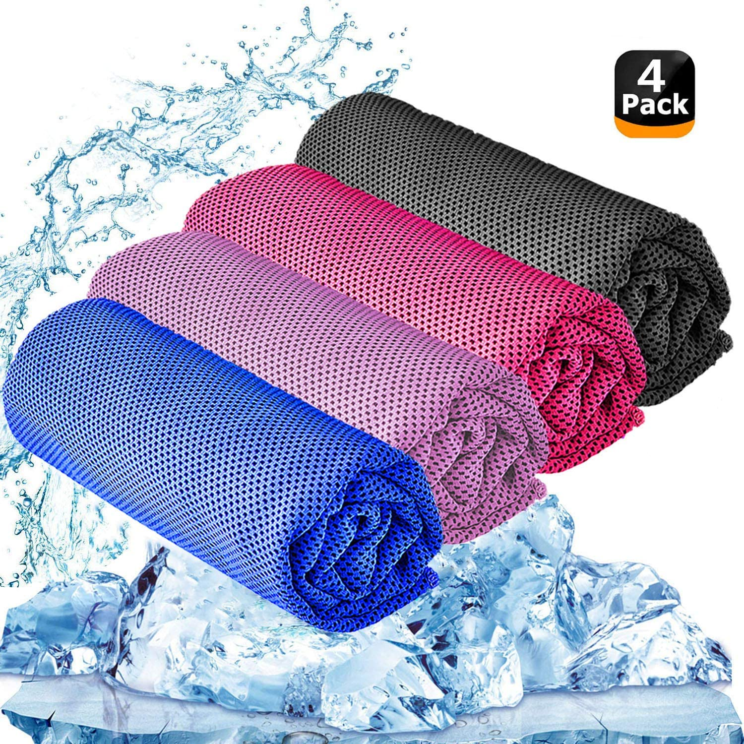 """YQXCC Cooling Towel 3 Pcs (47""""x12"""") Microfiber Towel for Instant Cooling Relief, Cool Cold Towel for Yoga Golf Travel Gym Sport Camping Football & Outdoor Sports (Dark Blue/Dark Gray/Rose Red/Pink)"""