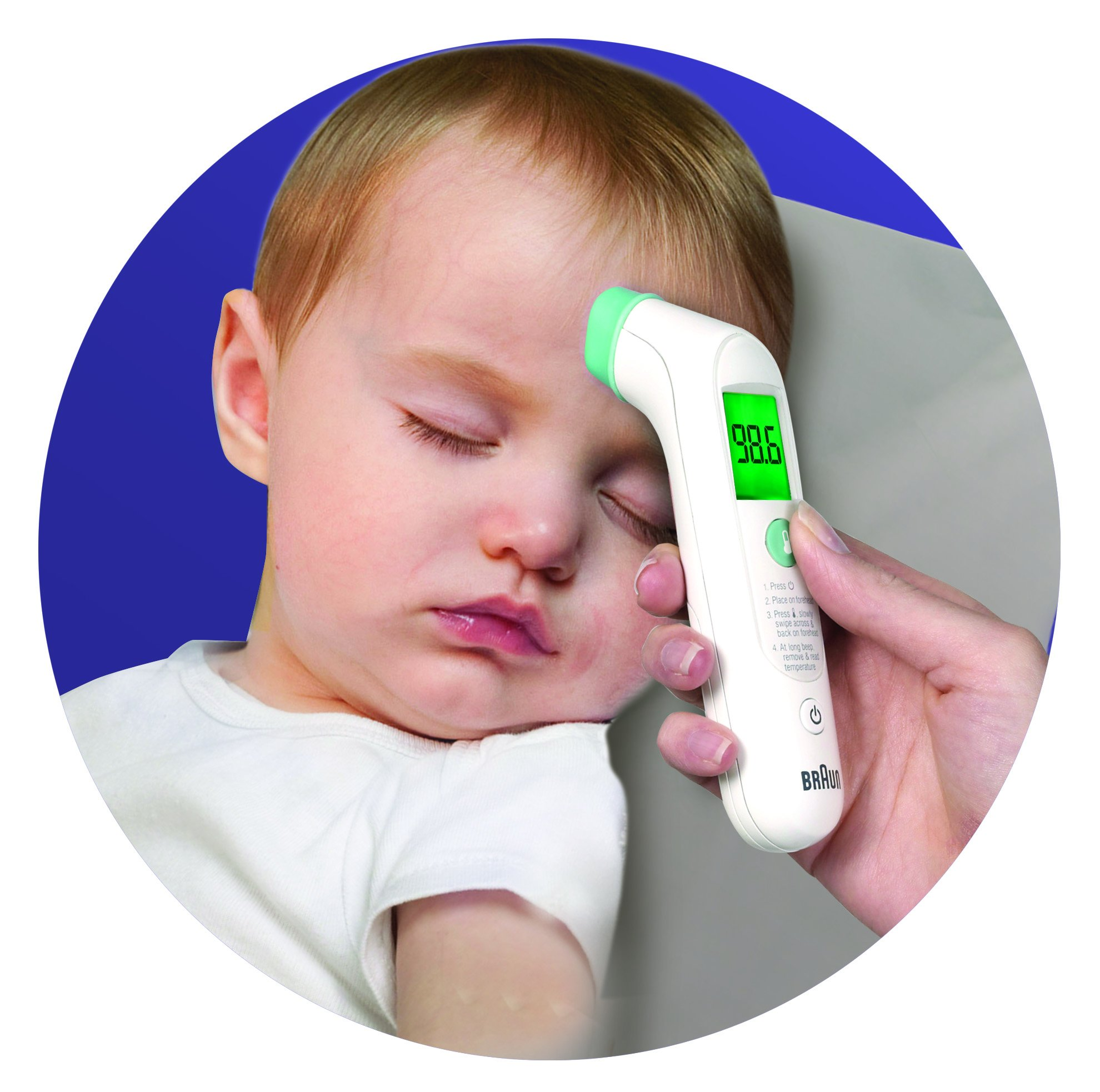 Braun BFH-125 Forehead Thermometer, White Forehead Thermometer for Babies, Kids, Toddlers, Adults, Display is Digital and Accurate, Thermometer for Precise Fever Tracking at Home