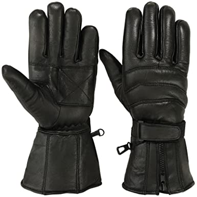 bc4b32ede Mens Motorbike Gloves Cold Weather Motorcycle Riding Glove Genuine Leather  Black