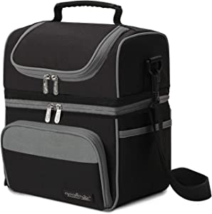 Apollo Walker Dual Compartment Cooler Lunch Bag Tall, Waterproof Insulated Lunch Box with Shoulder Strap, Picnic Tote Thermal Lunchbox for Children Men and Women