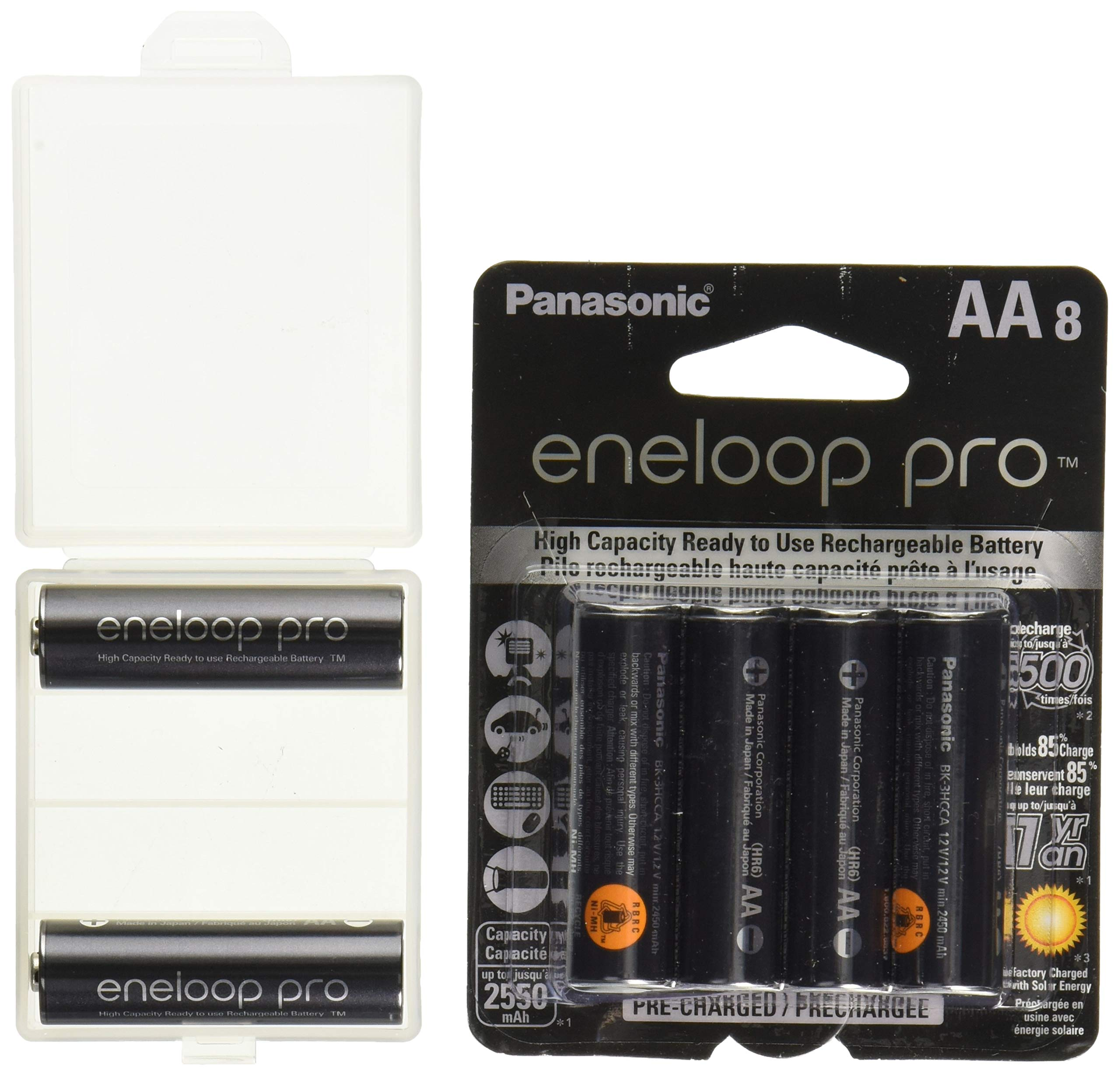 10 Panasonic eneloop pro AA High Capacity Ni-MH 2550mAh (Min. 2450mAh) Pre-Charged Rechargeable Batteries + Free Battery Holder by eneloop