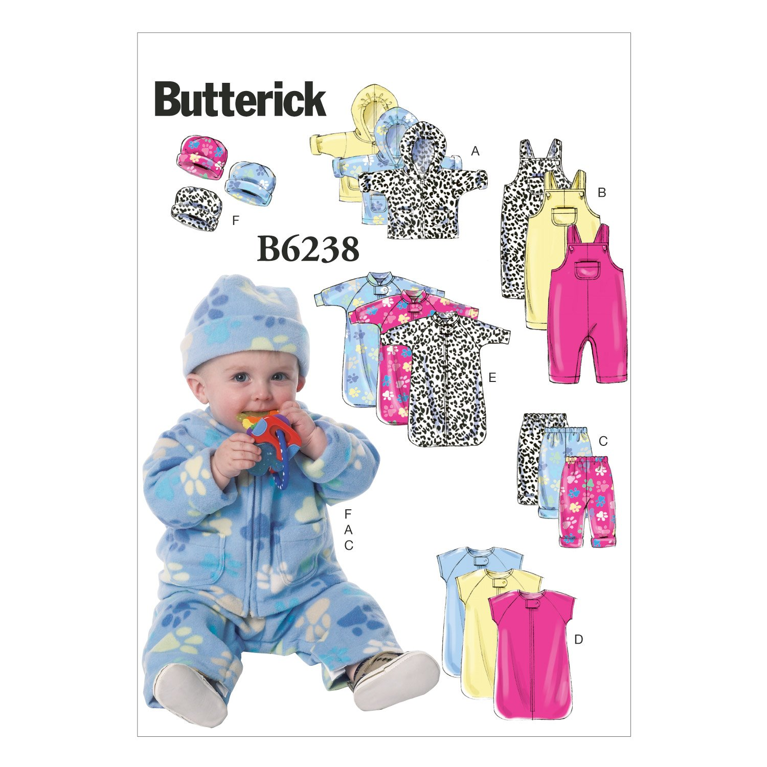 Butterick Patterns 6238 YA5,Infants Jacket,Overalls,Pants,Bunting and Hat,Sizes NB-S-M-L-XL, One Envelope The McCall Pattern Company B6238YA5