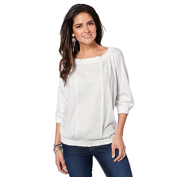VENCA Camiseta Nido de Abeja elástico en el Escote Redondeado Mujer by 022287: Amazon.es: Ropa y accesorios